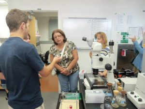 RET fellows tour a research lab